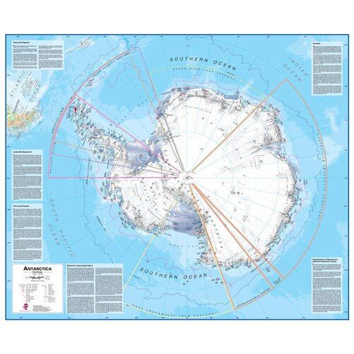 Lovell Johns Antarctica 1:7 Laminated Wall Map