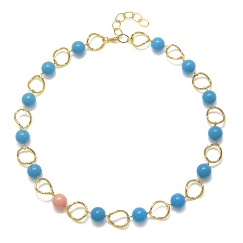Amanda Rudey Timeless Beauty Crystal Lapis Cultured Pearl and Crystal Coral Cultured Pearl Eliza Necklace