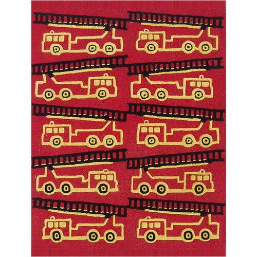 Abacasa Abacasa Kids Firetrucks Red/Yellow/Black Area Rug