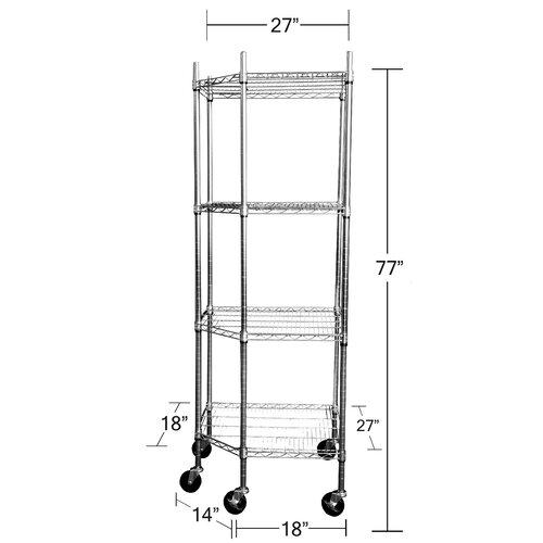 "Trinity EcoStorage NSF Corner Wire Wheeled Corner 77"" H 4 Shelf Shelving Unit Starter"