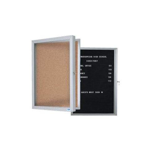 AARCO Enclosed Bulletin Board with Over Lapping Hinged Door