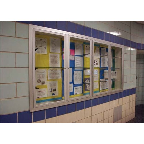 AARCO Recessed Glazed Display Boards with Hinged Doors