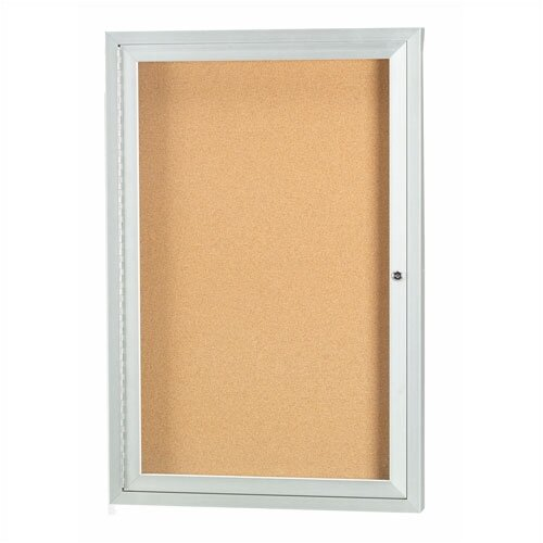 AARCO Enclosed Bulletin Board in Silver with Cork