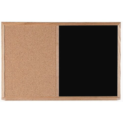 AARCO Combination Bulletin Board and Black Chalkboard with Wood Frame