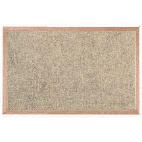 AARCO Burlap Weave Bulletin Board with Wood Frame in Coffee Cream