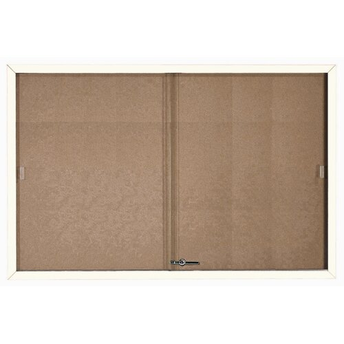 AARCO Enclosed Bulletin Board with Frame and Sliding Doors