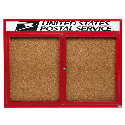 AARCO Enclosed Bulletin Board with Aluminum Frame and Header