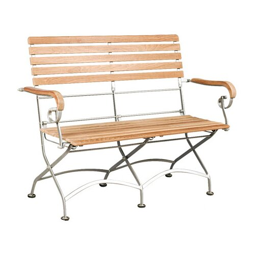 HiTeak Furniture Bistro Teak and Iron Garden Bench