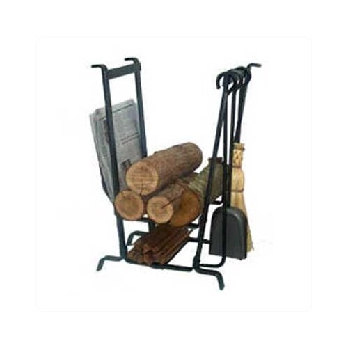 4 Piece Fireplace Steel Tool Set with Log Rack