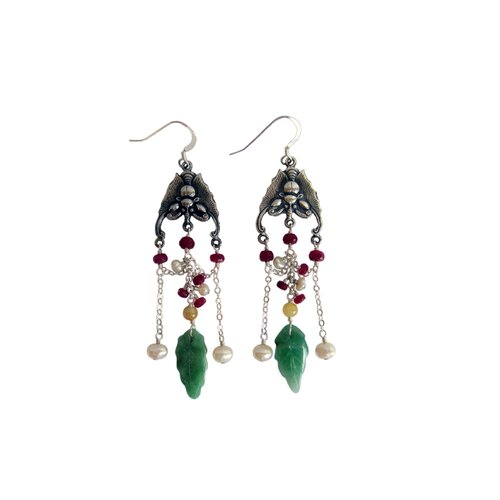 Vivian Yang Gemstone Chinese Melody Luck Bats Drop Earrings