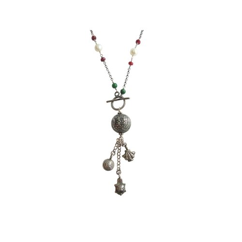Sterling Silver Gemstone Chinese Happiness Charm Necklace