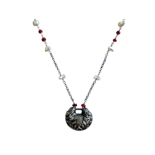 Sterling Silver Gemstone Chinese Lucky Charm Necklace