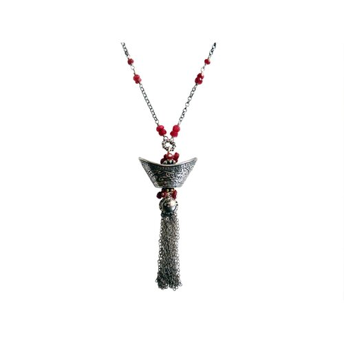 Sterling Silver Gemstone Chinese Wealthy Charm Necklace