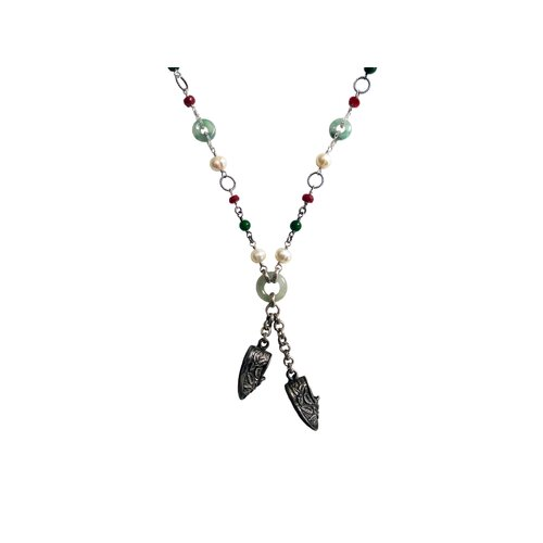 Sterling Silver Gemstone Chinese Virtuous Charm Necklace