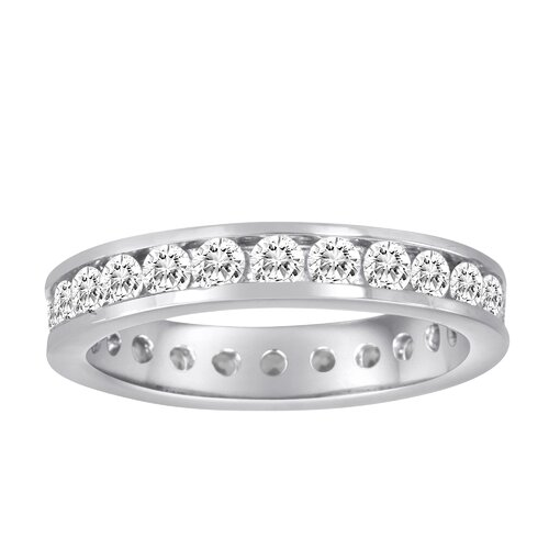 Diamonair Sterling Silver Cubic Zirconia Eternity Band