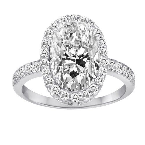 Diamonair Sterling Silver Cubic Zirconia Oval Ring