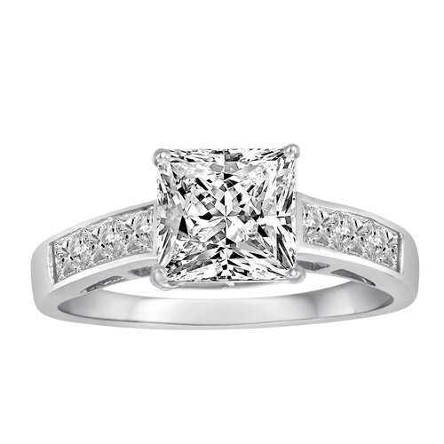 Diamonair Sterling Silver Cubic Zirconia Princess Cut Ring