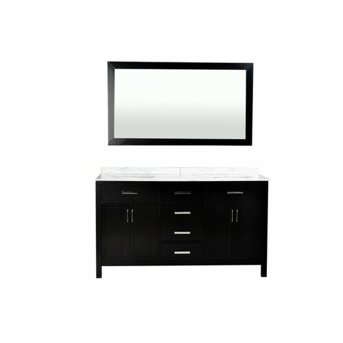 "Belmont Decor Hampton 60"" Double Vanity and Mirror Set"