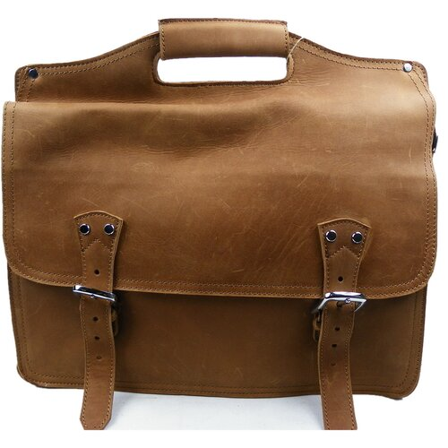 Easy Access Leather Laptop Briefcase