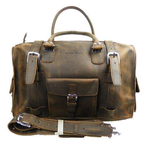 "Vagabond Traveler 18"" Leather Overnight Travel Duffel"