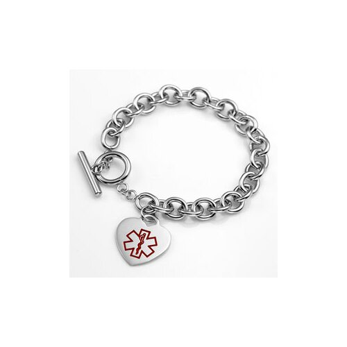Sticky Jewelry Diabetes Medical Alert Heart Link Bracelet