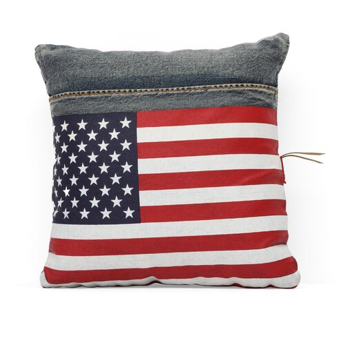 Zuo Era Cowboy Denim USA Flag Cushion