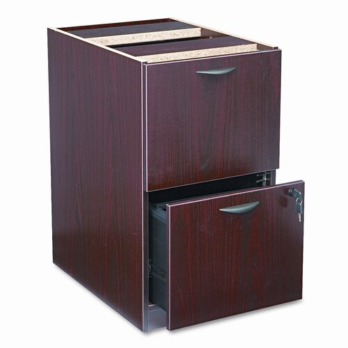 Basyx by HON Two-Drawer Pedestal File, 15-5/8w x 21-3/4d x 27-3/4h, Mahogany