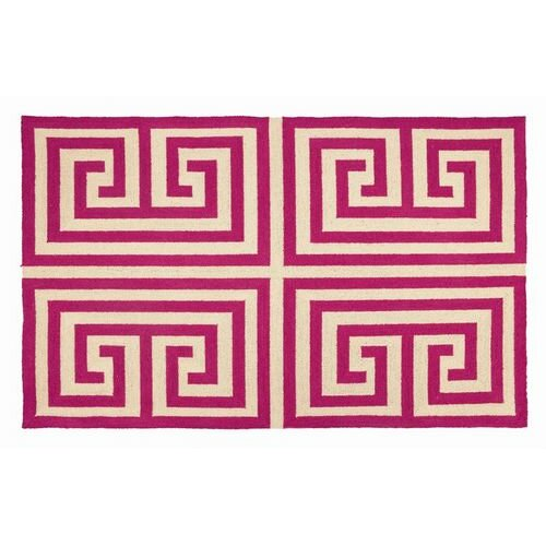 Greek Key Pink Rug