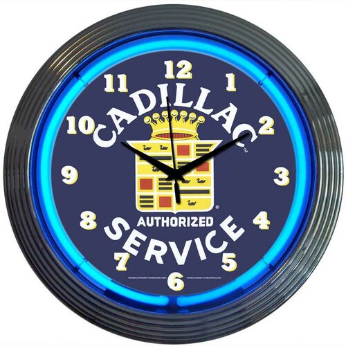 "Neonetics Cars and Motorcycles 15"" Cadillac Service Wall Clock"