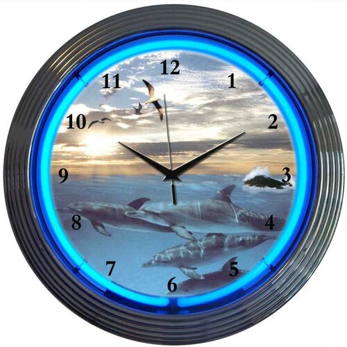 "Neonetics Bar and Game Room 15"" Dolphins at Sea Wall Clock"