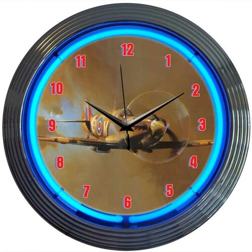 "Neonetics Retro 15"" WWII Spitfire Airplane Wall Clock"