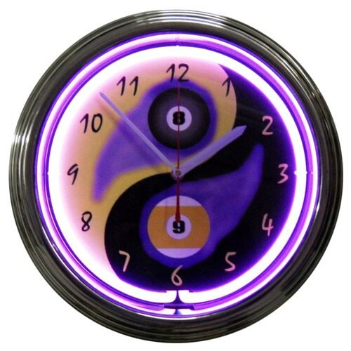 "Neonetics Bar and Game Room 15"" Billiards Yin Yang Wall Clock"