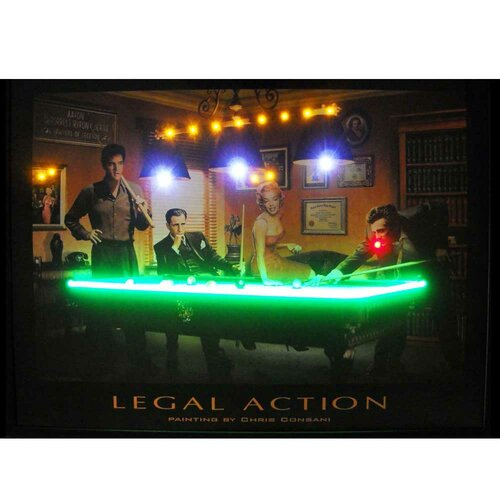 Legal Action Neon LED Framed Vintage Advertisement