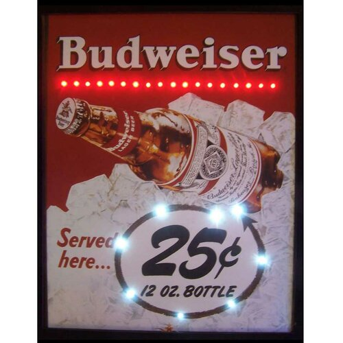 Neonetics 25 Cent Budweiser LED Lighted Framed Vintage Advertisement
