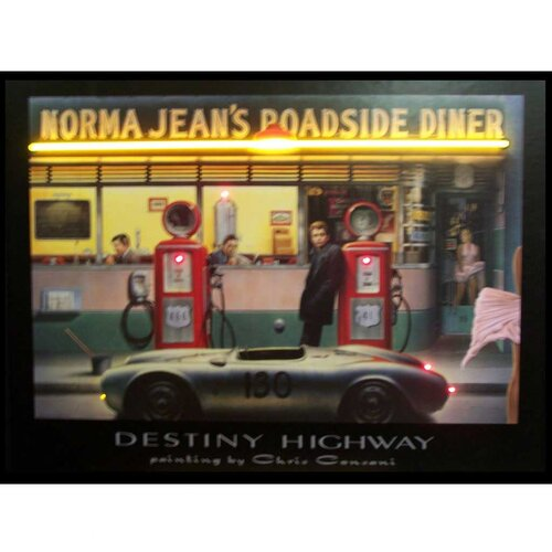 Destiny Highway Neon LED Framed Vintage Advertisement