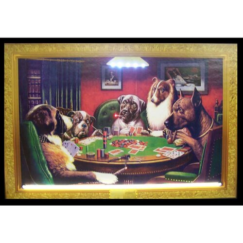 Neonetics Dogs Playing Poker Neon LED Framed Vintage Advertisement
