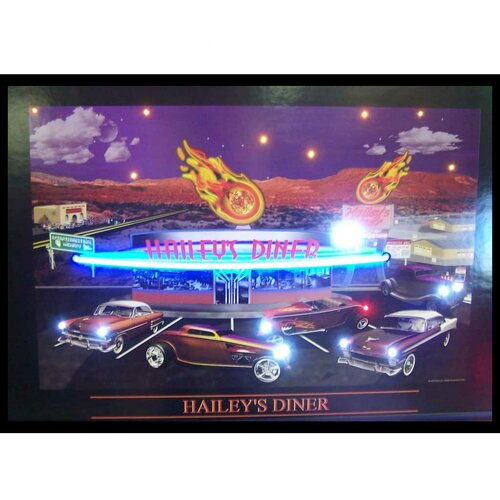 Haileys Diner Neon LED Framed Vintage Advertisement