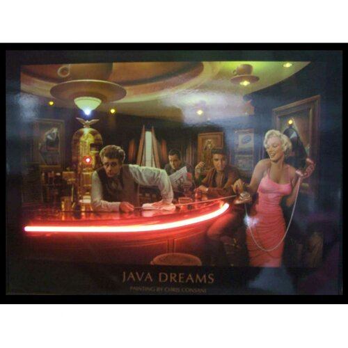 Java Dreams Neon LED Framed Vintage Advertisement