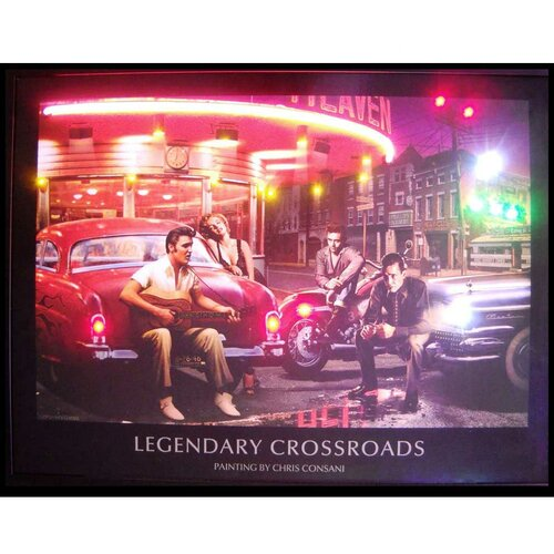 Legendary Crossroads Neon LED Framed Vintage Advertisement