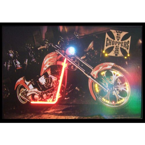 Neonetics West Coast Choppers Bike Neon LED Framed Photographic Print