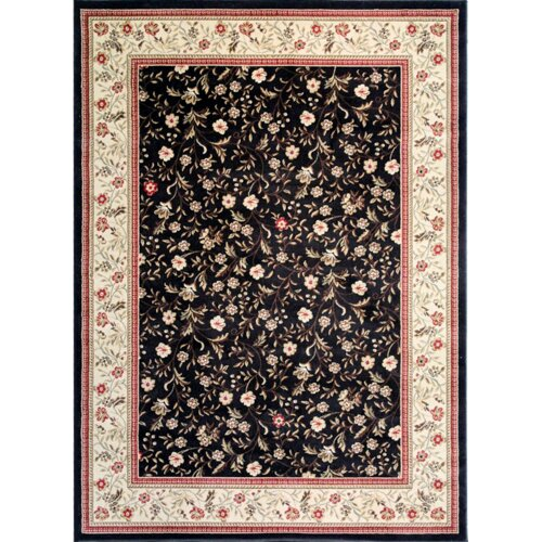 Infinity Home Barclay Black Rosas Bouqet Floral Border Rug