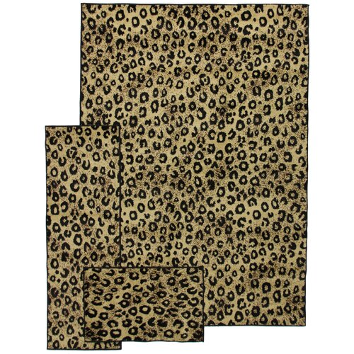 Breathless 3 Piece Leopard Animal Print Rug Set