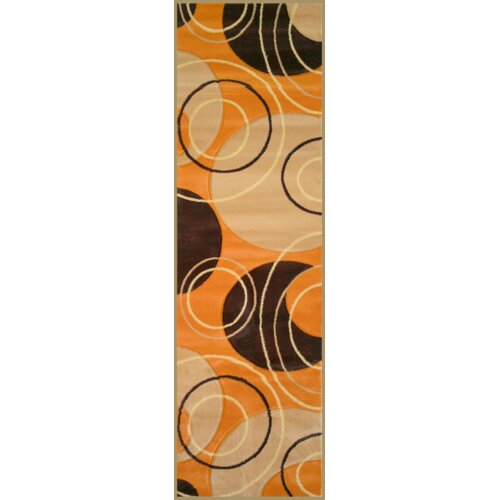 Infinity Home Harmony Orange Bali Rings/Circles Rug