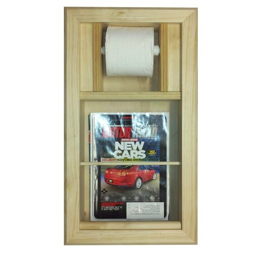 WG Wood Products Bevel Frame Recessed Magazine Rack and Toilet Paper Holder Combo