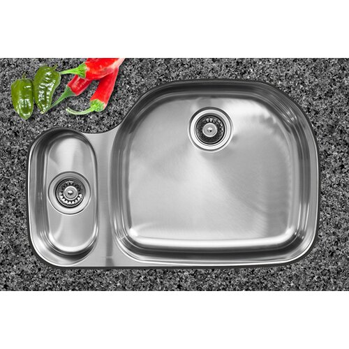 "Ukinox 32.5"" x 20.75"" x 10"" Double Bowl Undermount Kitchen Sink"