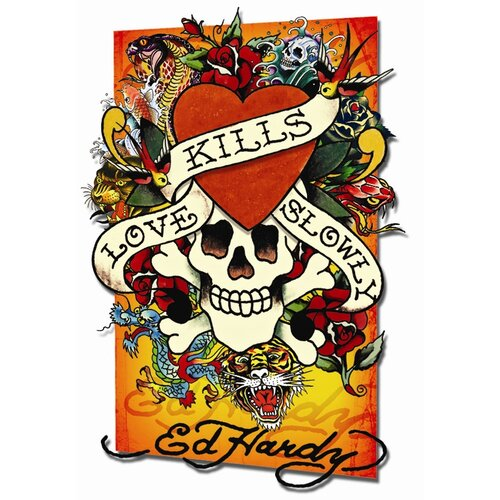 3D Ed Hardy 'Love Kills Slowly' Framed Graphic Art