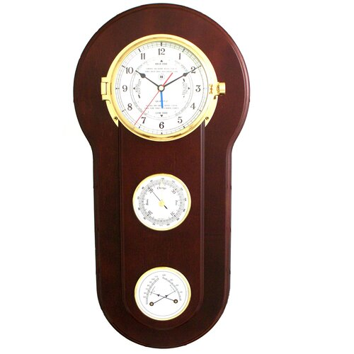 Bey-Berk Tide and Time Wall Clock with Barometer and Thermometer