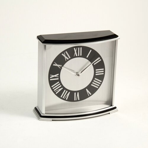 "Bey-Berk ""Palm Springs"" Stainless Steel and Wood Desk Clock"