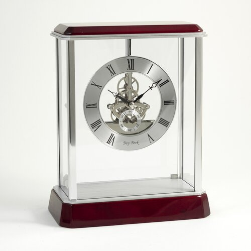Bey-Berk Madrid Skeleton Clock in Silver