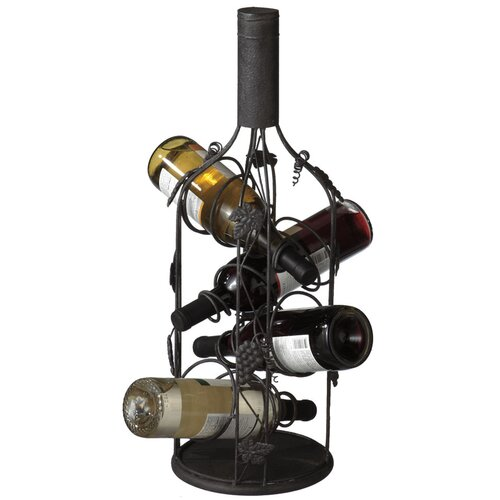 Grape and Leaves 4 Bottle Wall Hanging Wine Rack